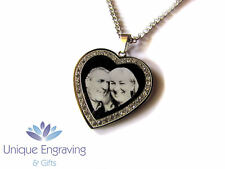 Personalised photo/text engraved Gem Stone heart necklace pendant - Great Gift!