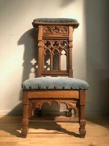 Neo-Gothic kneeler chair 19th in oak