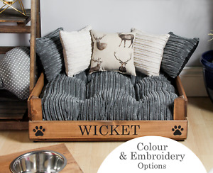 Small Grey Corduroy Pet Bed - Personalisable