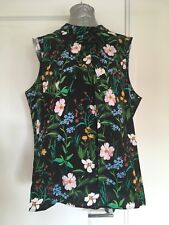 Dorothy Perkins Size 22 Black Floral Cotton Shell Top