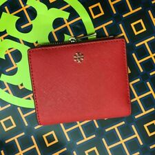 Tory Burch Emerson Saffiano Leather Mini Wallet Red
