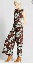 Marks & Spencer Autograph Burgundy Floral Wide Leg Jumpsuit - Size 16