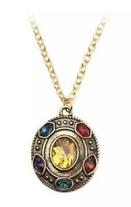 NEW Marvel Avengers Infinity Stone Gold Plated Oval Necklace - Perfect Gift