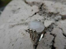 Empowering Jewelry Milky White Quartz Ring Size 6.5 Silver Tone Alloy Boho Indie