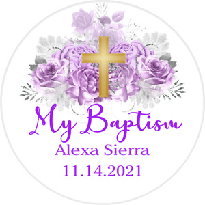PURPLE LAVENDER SILVER CHRISTENING BAPTISM PARTY ROUND STICKERS FAVORS LABELS