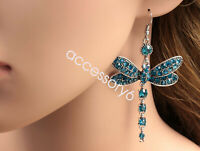 Gorgeous blue dragonfly crystal rhinestone girl silver plated hook earrings B40