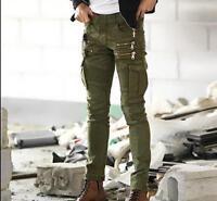 Punk Men's Cotton Biker Skinny Overalls Pants Zipper Cargo Trousers Casual New