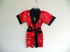 Thai Silk-Blend Child's Robe Kimono Orange/Red Reversible Dragon/Unisex -S (New)