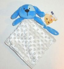 New Vitamins Baby Blue Gray Puppy Security Blanket Minky Dots NWT P45