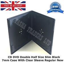 100 x CD DVD Double Half Size Slim Black 7mm Case with Clear Sleeve Regular New