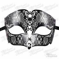 Mens Unisex Filigree Light Metal Mardi Gras Venetian Masquerade Mask [Black]