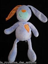 Doudou Lapin bleu et coeur tissu orange Fnac Eveil & Jeux 33 cm