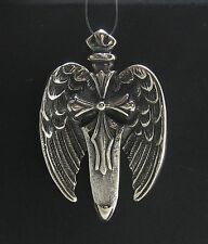 STERLING SILVER PENDANT SOLID 925 GUARDIAN ANGEL WINGS SWORD NEW