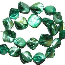 """MP1113 Dark Teal Green 16mm -25mm Diamond Nugget Mother of Pearl Shell Beads 16"""""""