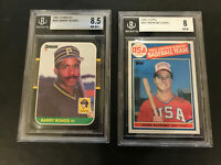 Mark McGwire 85 Topps BGS 8 and Barry Bonds 87 Donruss BGS 8.5 (2-card lot)