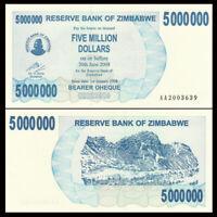 Zimbabwe 5000000 5,000,000 Dollars, 2008, P-54, Prefix AA, Banknote, UNC