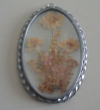 Glass Sun Catcher With Dried Beige Flower And Silver Color Frame 5.5x3.5 Inches