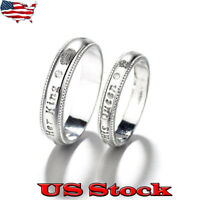 Lovers Stainless Steel His Queen and Her King Couple Anniversary Wedding Rings