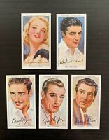 Lot of 5 1938 Player & Sons Film Stars - 3rd Series w/ Gary Cooper, Olivier +