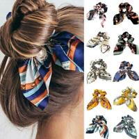 Girl Solid Floral Bow Scrunchie Hair Band Polyster Elastic Hair Ties Rope Acc