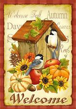 "Fall Autumn Welcome Birdhouse Mini Garden Flag ""Autumn Birds"""
