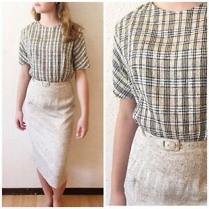 Vintage 50s Boucle Textured Belted Wiggle Secretary Dress Plaid Beige Black S