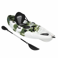 KAYAK SIT ON TOP FISHING SEA RIVER LAKE KAYAKS SEAT PADDLE SET - CAMO CAMOUFLAGE