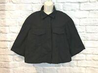 Jarbo Women's Black Crop 3/4 Sleeve Snap Front Light Weight  Jacket Sz 1/Small