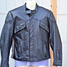 Yamaha Size 44 Black Leaather Motorcycle Jacket Well Padded Ribbed Lining