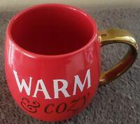 Beautiful Threshold Mug, Warm & Cozy, Stonewear, Gold, White, Red Coffee Cup New