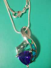 Striking Amethyst & Inlaid lab created Opal w/White Topaz  .925 Necklace 18""