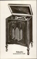 Old Record Player Columbia Radiograph Four Advertising Real Photo Postcard