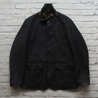 Barbour Wool Great Coat Jacket Size M Navy Leather Strap