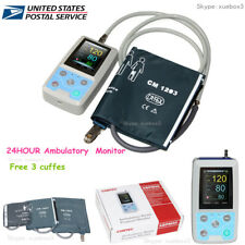 ABPM50 24h NIBP Holter Ambulatory Blood Pressure Monitor,SW,free 3 Cuffs,US ship