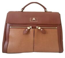 Charles Keith Bag Cognac Faux Leather Two Shades Briefcase Handbag Purse