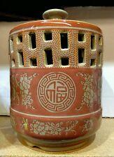 Chinese Orange Red Candle Holder Porcelain Pot Jar