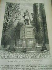 La Statue de Van Dyck à Anvers Gravure Antique Print 1877