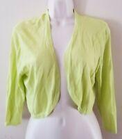 Soft Surroundings 3/4 Sleeve Light Green Stretchy Mesh Open Crop Top Jacket Sz L