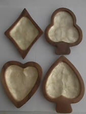 4 Vintage Mother of Pearl Inlay Wood Bowl Suit Shapes Diamond Club Heart Spade