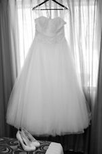 Tulle Ball Gown/Dutchess Cap Sleeve Wedding Dresses
