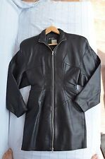 Michael Hoban north beach leather Dress 80's Retro Vintage Lined front zip S