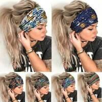 Women Wide Elastic Turban Headwraps Stretch-Headband Sports Yoga Gym Hair-Band