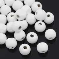 20 perles en bois 10mm couleur Blanc 10 mm  creation colier, attache tetine ...