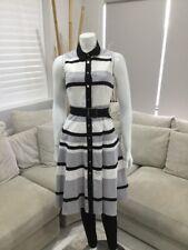 Super Cute Karen Millen Dress Long Button Up White Grey Black Striped Size US 4