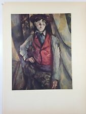 "1952 Vintage Full Color Art Plate ""BOY WITH RED VEST"" CEZANNE Lithograph Litho"