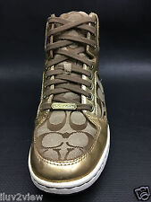 Coach Norra Gold High Top Signature Tennis Shoes Size 8 USa.