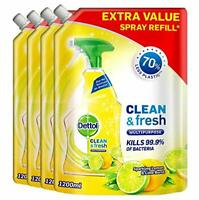 Dettol Refill Clean and Fresh Multipurpose Cleaning Spray Lemon, Pack of 4 x 1.2