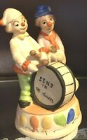 """Vintage Handpainted Porcelain Clowns Rotating Music Box """"Send In The Clowns"""""""
