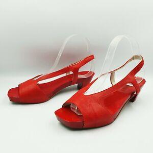 Jil Sander Size 39 Red Leather Wooden Clog Platform Square Toe Sandals Shoes