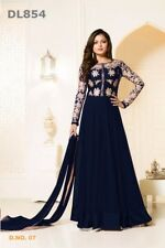 Indian Designer Party Ethnic Blue Embroidery Georgette UnStitch Gown Dress Suit